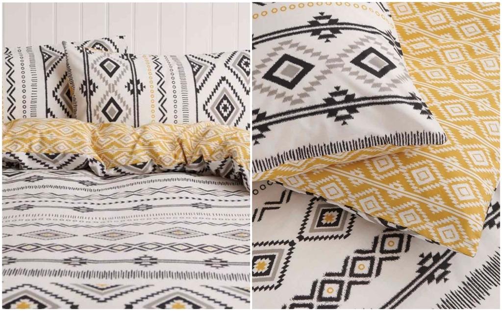 Wilko Grey Ochre Tribal Print Duvet Set Double