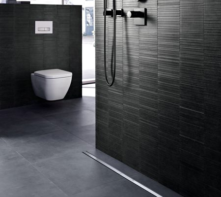 Sleek, streamlined drainage design for wetrooms is seamless with Geberit CleanLine
