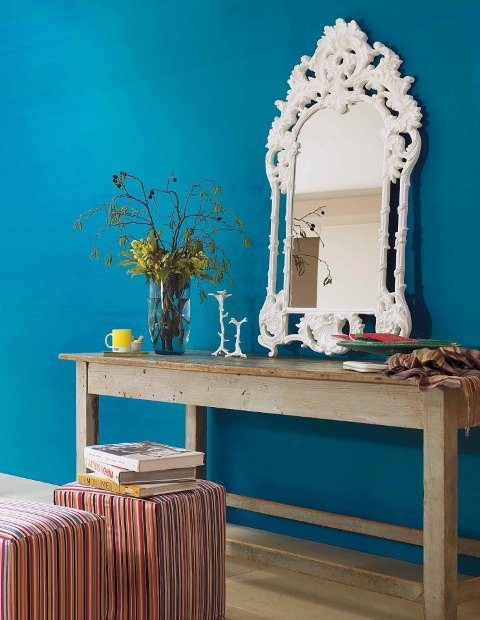 Peacock blue statement wall
