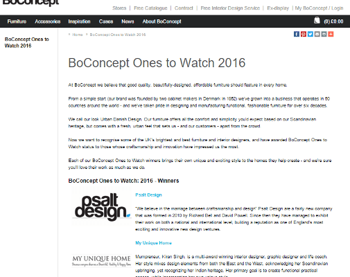 WINNER | BOCONCEPT ONE TO WATCH 2016