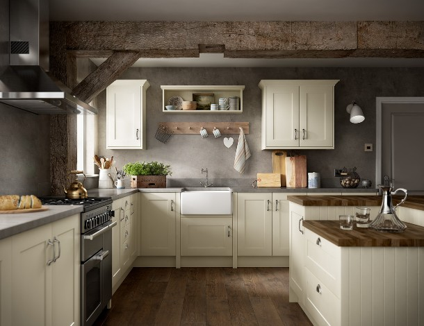 The Warwick Shaker Ivory kitchen from Benchmarx Kitchens and Joinery