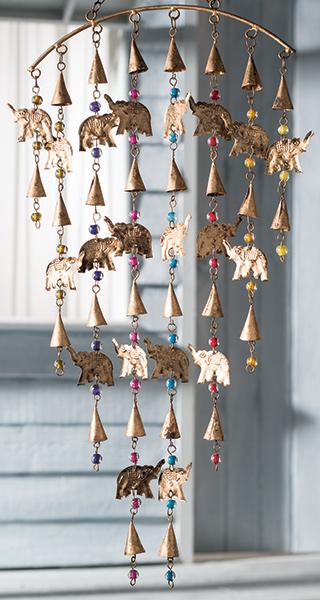 Elephant Windchime with Mixed Beads