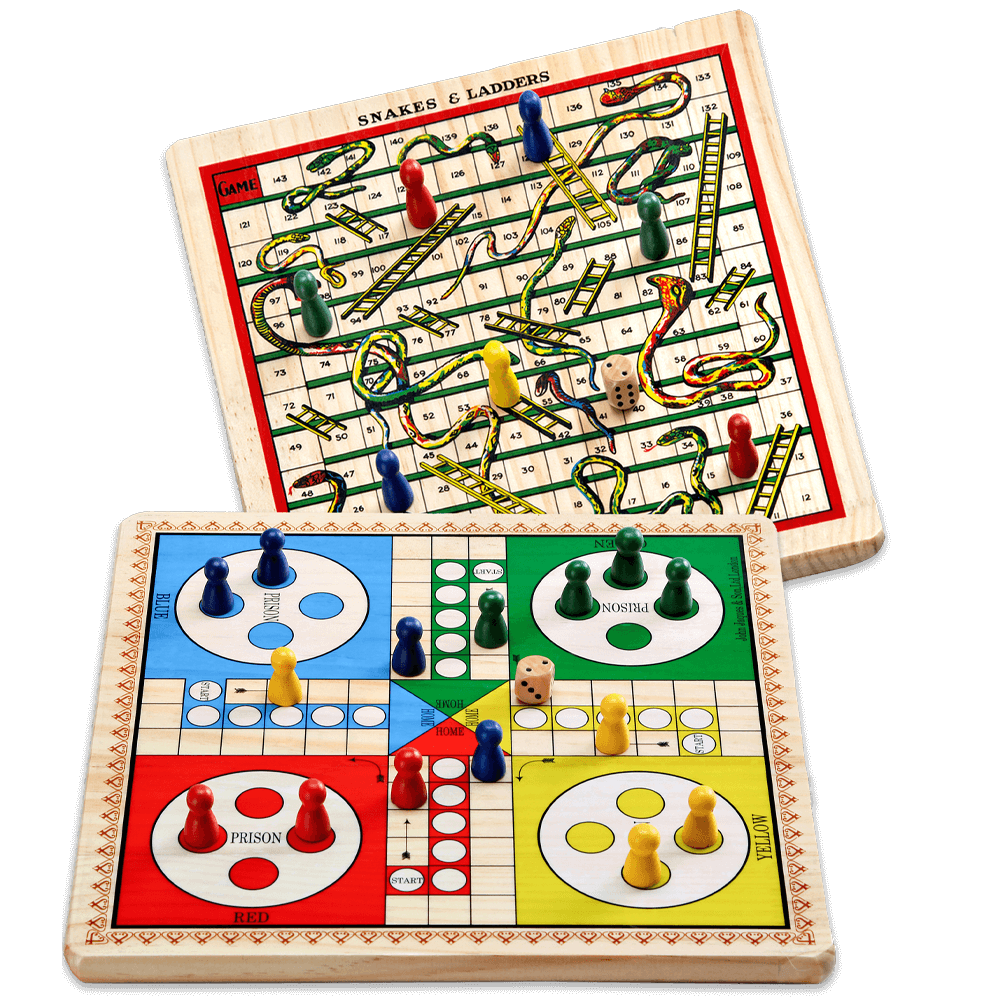 Snakes and Ladders & Ludo - Reversible Wooden Board Game
