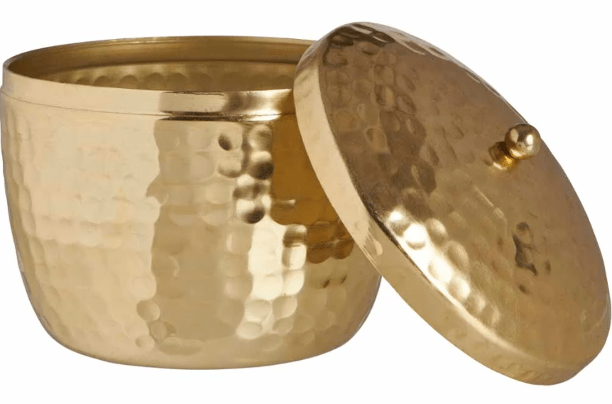 Wilko Hammered Brass Candle with Lid