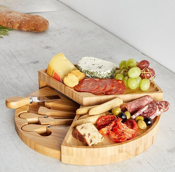 Brown Vonshef Tiered Cheese Board And Knives