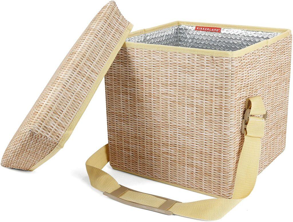 Kikkerland Collapsible Wicker Print Picnic Cooler Basket & Seat