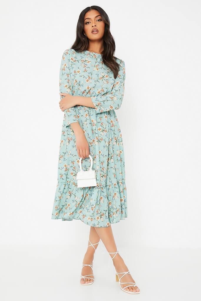 SPECIAL PRICE!*  Sage Floral Print Smock Midi Dress